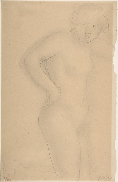 Young Girl Kneeling, Auguste Rodin (French, Paris 1840–1917 Meudon), Graphite, stumped on cream paper