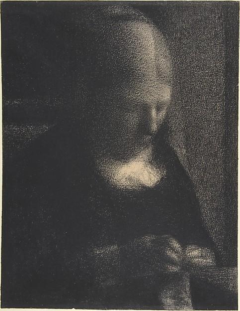 Embroidery; The Artist's Mother, Georges Seurat (French, Paris 1859–1891 Paris), Conté crayon on Michallet paper