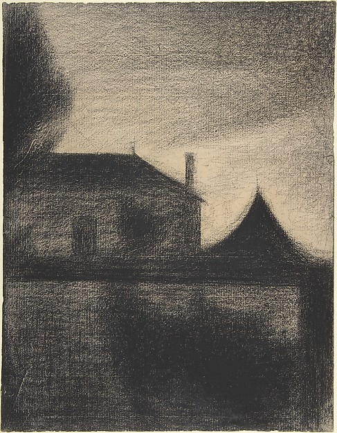 House at Dusk (La Cité), Georges Seurat (French, Paris 1859–1891 Paris), Conté crayon