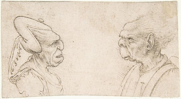 A Grotesque Couple: Old Woman with an Elaborate Headdress and  Old Man with Large Ears and Lacking a Chin, attributed to Giovanni Francesco Melzi (Italian, Milan 1491/93–ca. 1570 Vaprio d'Adda), Pen and brown ink