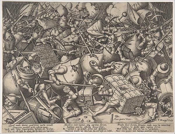 The Battle about Money, Pieter van der Heyden (Netherlandish, ca. 1525–1569), Engraving; second state of four