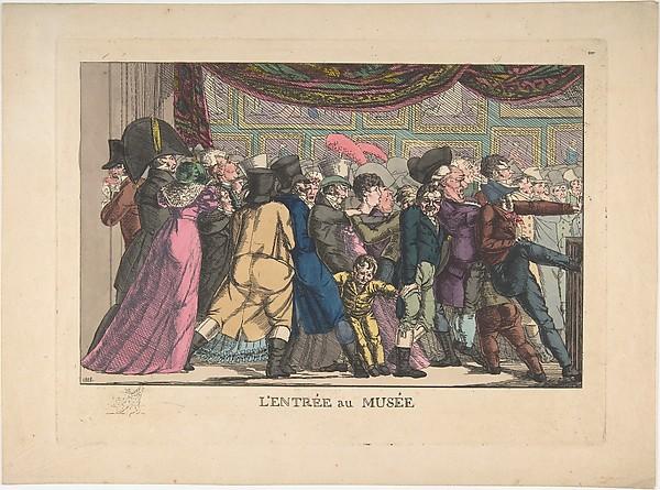 L'Entrée au Musée, Anonymous, French, 19th century, Hand-colored etching