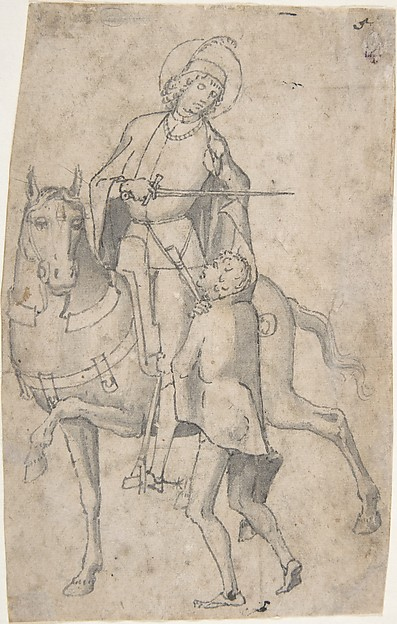 Saint Martin and the Beggar, Attributed to Vittore Carpaccio (Italian, Venice 1460/66?–1525/26 Venice), Pen and gray ink, brush and gray wash, over faint traces of black chalk