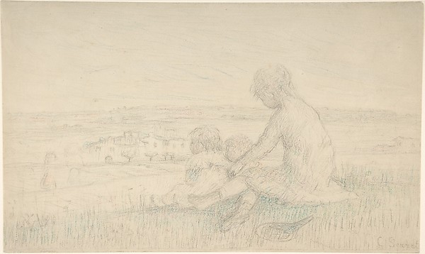 Children Seated on a Hillside with a Racquet, Charles-Emmanuel Serret (French, 1824–1900), Black chalk and pastel