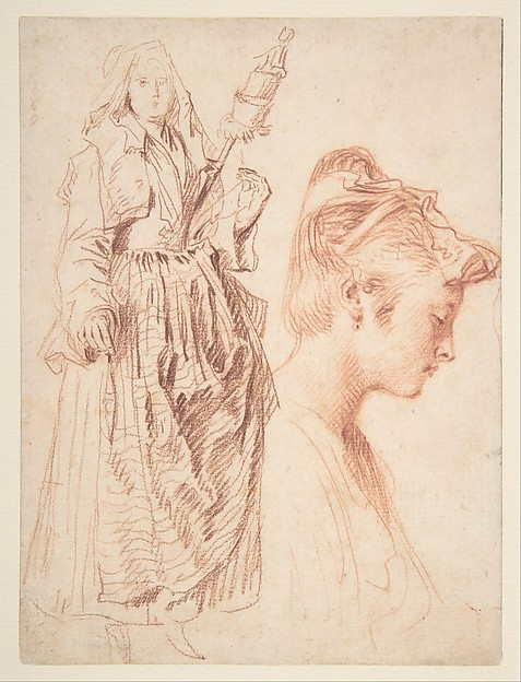Standing Woman Holding a Spindle, and Head of a Woman in Profile to Right, Antoine Watteau (French, Valenciennes 1684–1721 Nogent-sur-Marne), Two shades of red chalk