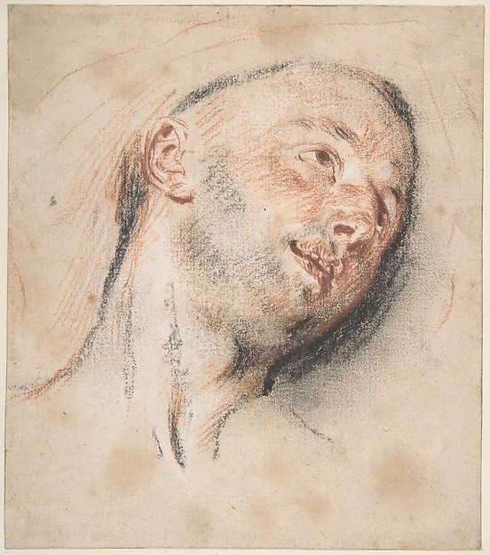Head of a Man, Antoine Watteau (French, Valenciennes 1684–1721 Nogent-sur-Marne), Red and black chalk