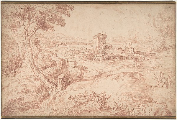 Landscape with an Old Woman Holding a Spindle, after Domenico Campagnola, Antoine Watteau (French, Valenciennes 1684–1721 Nogent-sur-Marne), Red chalk. Framing lines in pen and brown ink.