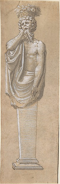 Bearded Male Term with a Raised Left Arm, Anonymous, French, 16th century, Pen and black ink with grey wash, heightened with white