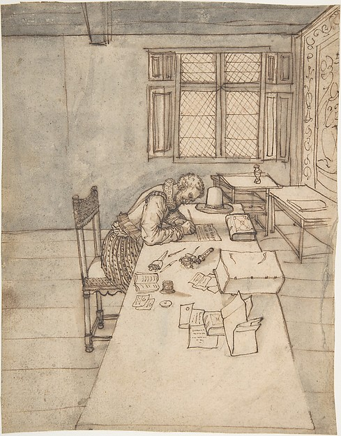 Interior with a Man Writing on a Long Table, Anonymous, French, 16th century, Pen and brown ink, brush and gray and brown wash, over faint sketch in graphite