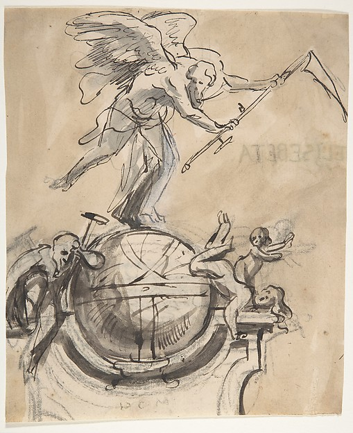 Design for a sepulchral monument with an allegory of Time, Pieter Verbruggen the Younger (Flemish, Antwerp 1648–1691 Antwerp), Pen and brown ink, brown wash, over black chalk