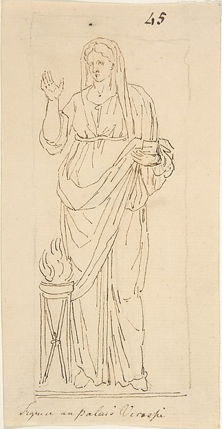 Female Figure with Tripod, Anonymous, French, 18th century, Graphite, pen and brown ink; framing lines in graphite