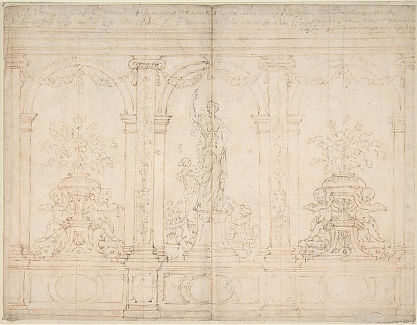 Wall Elevation with Three Arches, Anonymous, French, 18th century, Pen and brown ink