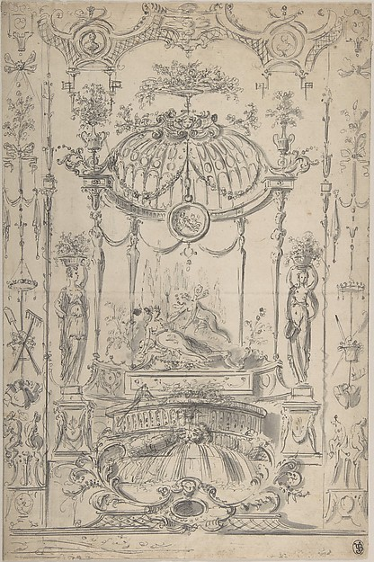 Design for an Arabesque with Cupid and Psyche, Circle of Claude Gillot (French, Langres 1673–1722 Paris), Pen and gray ink, brush and gray wash