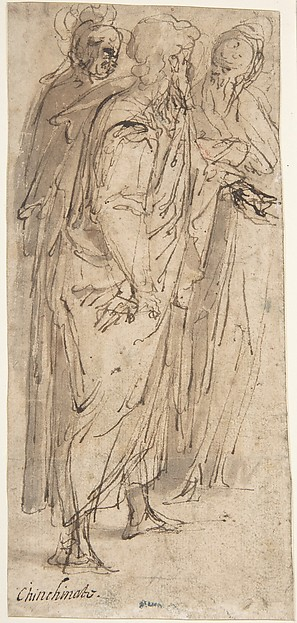 Three Standing Male Figures (recto); Two Standing Male Figures (verso), Romulo Cincinnato (Italian, Florence ca. 1540–1597/98 Madrid), Pen and brown ink, brush and brown wash (recto); pen and brown ink, over traces of black chalk (verso)