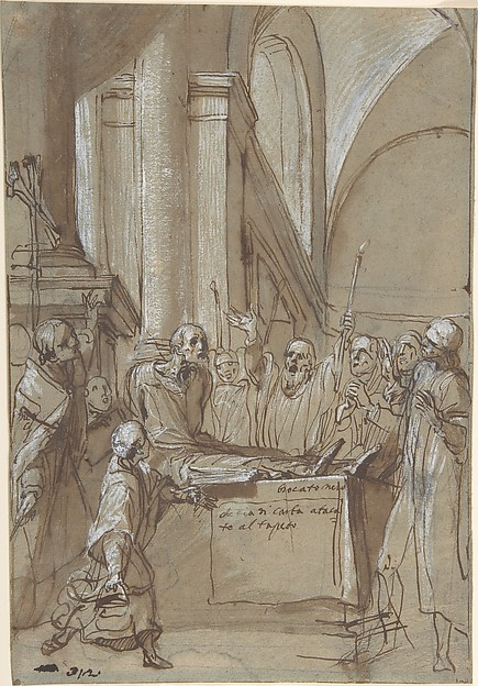 Raymond Diocrès Speaking During His Funeral (from the Life of Saint Bruno of Cologne), Daniele Crespi (Italian, Busto Arsizio 1597/1600–1630 Milan), Pen and dark brown ink, brush and brown wash, highlighted with white gouache, over soft black chalk or leadpoint