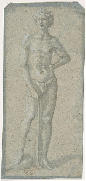 Standing Youth Holding a Club (recto); Temptation of Adam and Eve (verso), Attributed to Domenico Veneziano (Italian, active by 1438–died 1461 Florence) ?, Brush and gray wash, highlighted with white, on faded blue paper (recto); fragment of the Temptation of Adam and Eve in pen and brown ink, over black chalk, on blue paper that has not faded (verso)