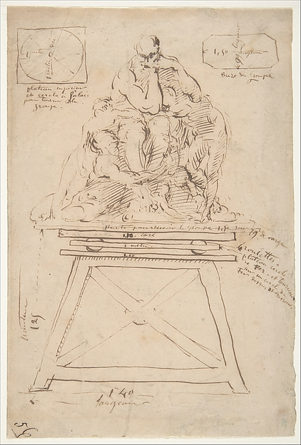 Study for the modeling stand of the Ugolino group, Jean-Baptiste Carpeaux (French, Valenciennes 1827–1875 Courbevoie), Pen and brown ink