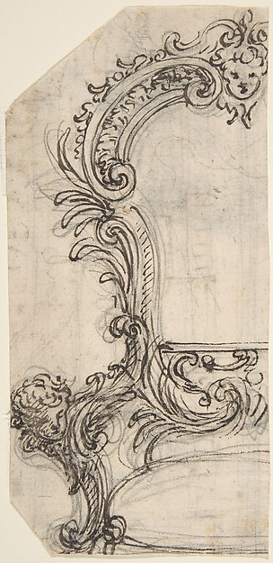 Design for the Frame of a Mirror or Fire Screen (recto); Various Sketches (verso)., Giovanni Battista Foggini (Italian, Florence 1652–1725 Florence), Pen and brown ink, over traces of black chalk. Verso: pen and brown ink