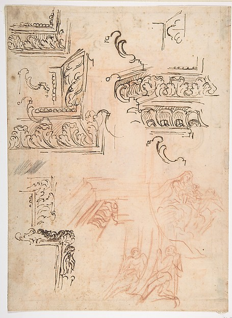 Studies of Architectural Moldings, of the Virgin and Child with a Kneeling Saint, and of Two Angels Supporting Frames (recto); Studies for Architectural Mouldings (verso), Baldassarre Franceschini (il Volterrano) (Italian, Volterra 1611–1690 Florence), Pen and brown ink, red chalk, a little black chalk (recto); further studies of moldings in red chalk and pen and brown ink (verso)