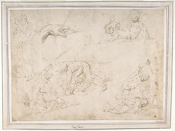 Figure Studies: Three Sketches of Cain Killing Abel, with an Altar of Sacrifice at Center, Two Standing Women, a Hand, and a Seated Child with a Squirrel, Battista Franco (Italian, Venice ca. 1510–1561 Venice), Pen and brown ink.