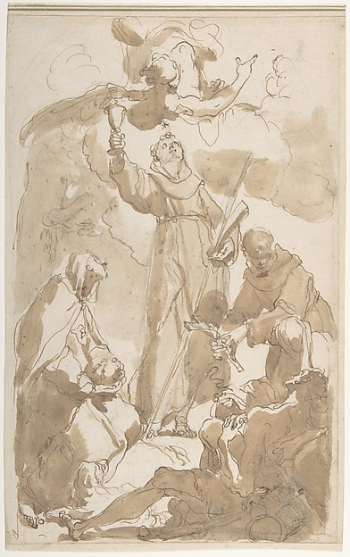 Saint Margaret of Cortona, Saint James of the March, and Saint Didacus, Attributed to Gaetano Gandolfi (Italian, San Matteo della Decima 1734–1802 Bologna), Pen and brown ink, brush and brown wash, over black chalk