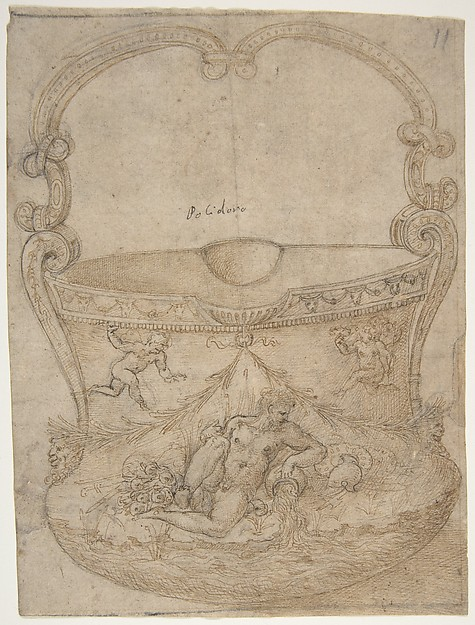 Design for a Bucket-Like Vessel with a Handle of Non-Figural Interlaces, on a Body Adorned with a River God and Two Putti., Girolamo Genga (Italian, Urbino (?) 1467–1551 near Urbino), Pen and brown ink, partly reworked with pen and darker brown ink, over black chalk; traces of framing outlines in pen and brown ink and black chalk