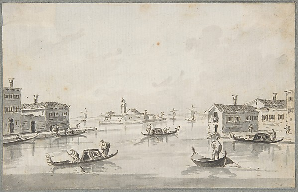 The Punta di San Giobbe, with the Island of San Secondo in the Distance, Giacomo Guardi (Italian, Venice (?) 1764–1835 Venice (?)), Pen and brown ink, brush and gray wash