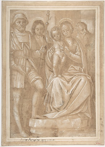 The Virgin and Child with Saint Roch and Two Other Male Saints, Attributed to Bernardino Lanino (Italian, Vercelli or Mortara 1509/13– 1582/83 Vercelli), Pen and brown ink, brush and brown wash, highlighted with white, over black chalk, on brown-washed paper; traces of squaring in black chalk