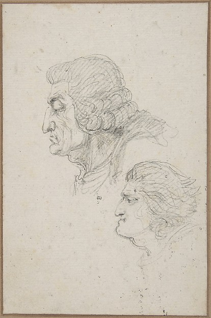 Portraits of Jean-Baptiste-Joseph Gobel (1727-1794), Bishop of Paris in 1792-93, and Pierre-Gaspard Chaumette (1763-1794), Procurator of the Commune in 1792, sketched on the way to the guillotine, April 12, 1794., baron Dominique Vivant Denon (French, Givry 1747–1825 Paris), Black chalk