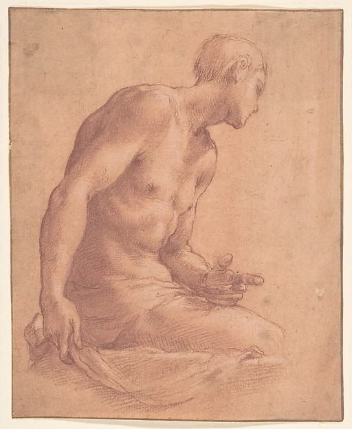 Seated Boy, Girolamo Macchietti (Italian, Florence (?) ca. 1535–1592 Florence), Red chalk, highlighted with white chalk, on off-white paper washed with pale ochre; framing outlines in pen and brown ink