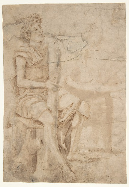 Seated Man Holding a Club or Other Implement (recto); Two Heads of Grotesque Men in Profile (verso), Circle of Andrea Mantegna (Italian, Isola di Carturo 1430/31–1506 Mantua), Pen and brown ink, brush and brown wash (recto); pen and brown ink (verso)