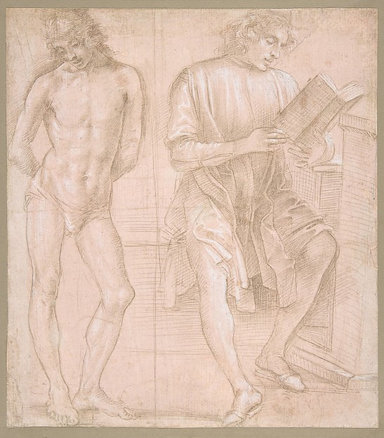Standing Youth with Hands Behind His Back, and a Seated Youth Reading (recto); Two Studies of Hands (verso), Filippino Lippi (Italian, Prato ca. 1457–1504 Florence), Metalpoint, highlighted with white gouache, on pink prepared paper (recto); metalpoint, on pink prepared paper (verso)