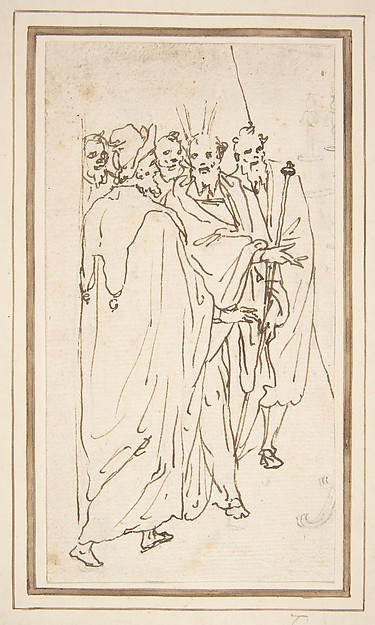Moses and Other Figures, Attributed to Cesare Nebbia (Italian, Orvieto ca. 1536–1614 Orvieto), Pen and brown ink, over traces of leadpoint or black chalk