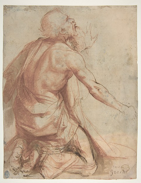 Kneeling Bearded Old Man (recto); Section of a Draped Limb and Sketches (verso), attributed to Nosadella (Giovanni Francesco Bezzi) (Italian, Bologna (?) ca. 1500–1571 Bologna), Red chalk, pen and brown ink with brush and brown and red wash, highlighted with a little white (recto); pen sketch of a seated, bearded man, and a red chalk drapery (?) study amongst charcoal or black chalk transfer preparation (verso)