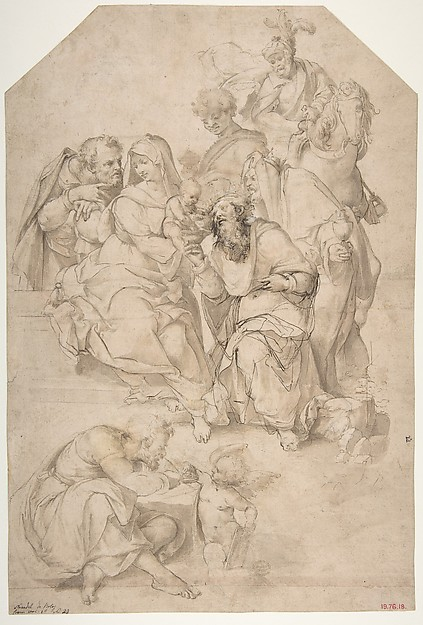 The Adoration of the Magi, Nosadella (Giovanni Francesco Bezzi) (Italian, Bologna (?) ca. 1500–1571 Bologna), Pen and brown ink, brush and brown wash, over traces of black chalk, with some traces of white gouache highlights (oxidized); the kneeling male figure at center reworked by the artist with pen and darker brown ink; a strip of paper added at the bottom and the design of the feet of the figure at lower left completed in brush and brown ink by an early hand, not that of the artist