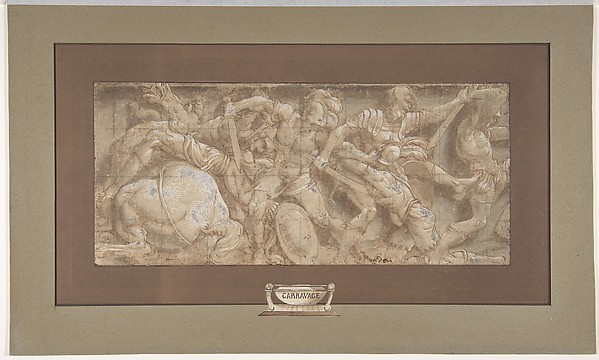 Battle Scene, Lelio Orsi (called Lelio da Novellara) (Italian, Novellara 1508/11–1587 Novellara), Pen and brown ink, brush and brown wash, highlighted with white gouache, over traces of black chalk; squared in black chalk