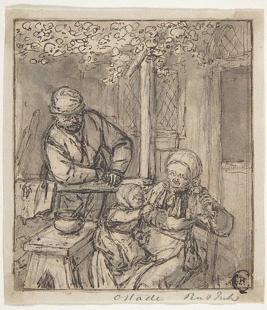 Mother and Child with a Doll., Adriaen van Ostade (Dutch, Haarlem 1610–1685 Haarlem), Pen and brown and black ink, brush and gray-brown wash, over graphite. Incised. Tacked down to paper mount.