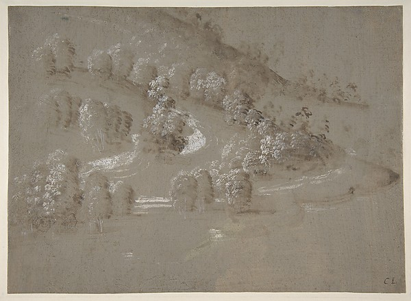 Landscape (recto); Landscape (verso), Perugino (Pietro di Cristoforo Vannucci) (Italian, Città della Pieve, active by 1469–died 1523 Fontignano), Brush and brown wash, highlighted with white gouache, on gray-green prepared paper (recto); pen and brown ink on unprepared off-white paper (verso)