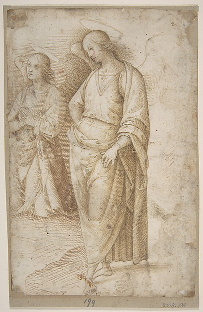 Two Figures of Angels Standing, Workshop of Perugino (Pietro di Cristoforo Vannucci) (Italian, Città della Pieve, active by 1469–died 1523 Fontignano) ?, Pen and brown ink, over leadpoint(?)