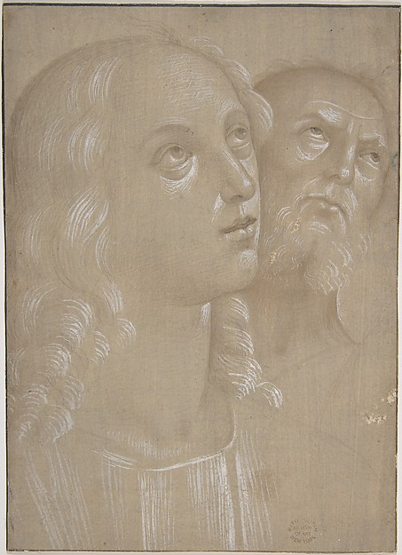 Heads of Two Saints, After Perugino (Pietro di Cristoforo Vannucci) (Italian, Città della Pieve, active by 1469–died 1523 Fontignano) ?, Metalpoint, reworked with brush and brown wash, highlighted with white gouache, on beige prepared paper