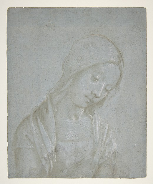 Bust of a Young Woman, Attributed to Piero di Cosimo (Piero di Lorenzo di Piero d'Antonio) (Italian, Florence 1462–1522 Florence), Metalpoint, highlighted with white gouache, on blue-gray prepared paper