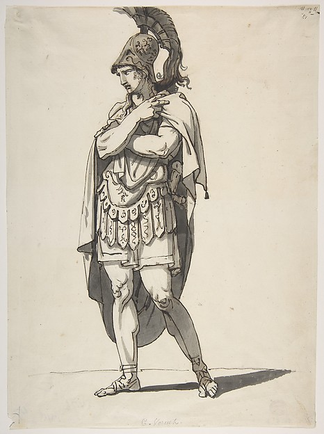 Standing Warrior, Bartolomeo Pinelli (Italian, Rome 1781–1835 Rome), Pen and brown ink, brush and gray and brown wash