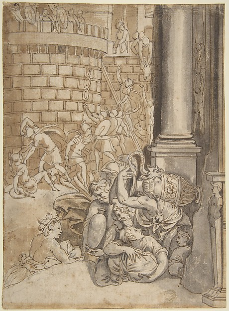 Sack of a City, School of Polidoro da Caravaggio (Italian, Caravaggio ca. 1499–ca. 1543 Messina), Pen and brown ink, brushed and washed with brown and gray, over charcoal