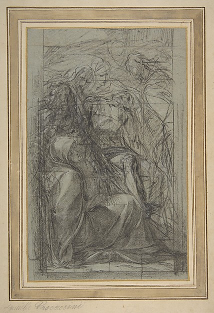 Study for the Pietà, Giulio Cesare Procaccini (Italian, Bologna 1574–1625 Milan), Charcoal, highlighted with white gouache, squared in charcoal, on blue paper