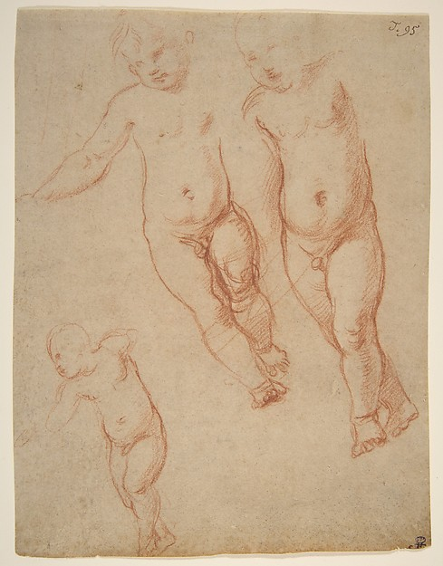Studies of the Christ Child, Raphael (Raffaello Sanzio or Santi) (Italian, Urbino 1483–1520 Rome), Red chalk
