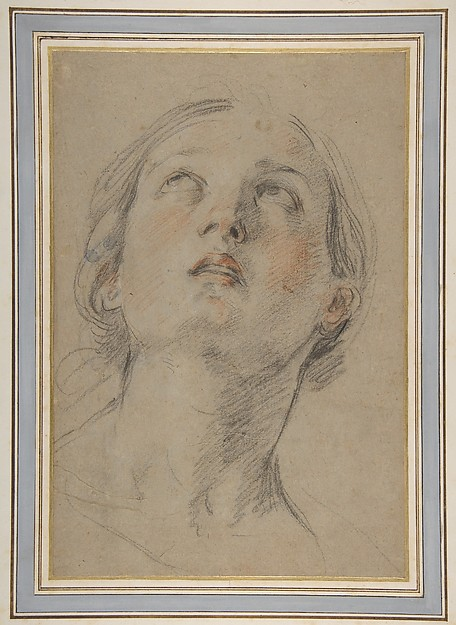 The Head of a Woman Looking Up (Judith)., Guido Reni (Italian, Bologna 1575–1642 Bologna), Red and black chalk, on originally blue paper now faded to light brown-gray