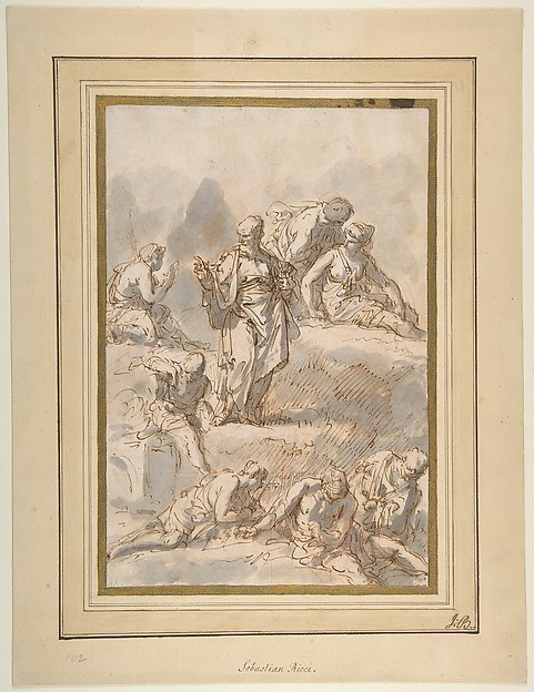 Figure Studies, Sebastiano Ricci (Italian, Belluno 1659–1734 Venice), Pen and brown ink, brush and gray wash, over red and a little black chalk