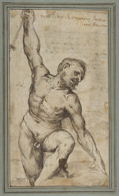 Nude Male Figure with Upraised Right Arm., Girolamo Romanino (Italian, Brescia 1484/87–1560 Brescia), Brush and brown wash, over slight traces of black chalk