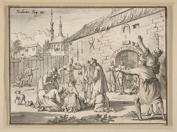 An Islamic Prophet Appearing in the Courtyard of a Prison in Alexandria, Jan Goeree (Dutch, Middelburg 1670–1731 Amsterdam), Pen and black ink, gray wash, over a sketch in red chalk, incised for transfer; double framing line in pen and brown ink, probably by the artist