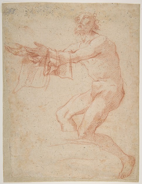 Study for a Raising of Lazarus (recto); half length study of bearded nude male figure, and a man and woman with donkey (verso), Salvator Rosa (Italian, Arenella (Naples) 1615–1673 Rome), Red chalk highlighted with white chalk